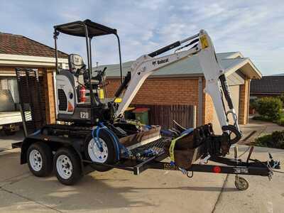 Hire Mini excavator Bobcat E20 2t and Car licence tipper truck