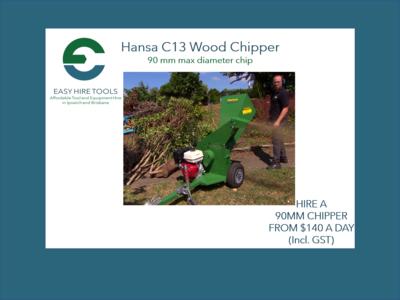 Hire 90mm Wood Chipper - Electric Start - Hansa C13