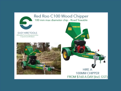 Hire 100mm Wood Chipper - Red Roo C100 - Road Towable