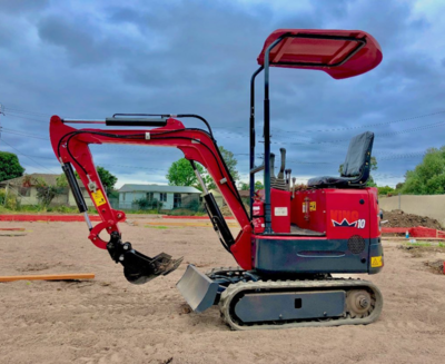 Hire 1 Tonne Excavator with a quick hitch 500mm batter bucket, 400mm trenching bucket, 200mm trenching bucket, Ripper, Rake and Grab
