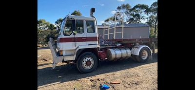 Hire Truck with drop down float trailer.